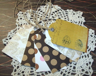 Gift Tags with Twine - Set of 6 - Brown Gold Tan Gift Tags - Nature Gift Tags - GT001