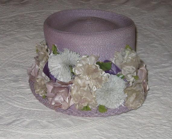 Vintage Lavender Straw Hat