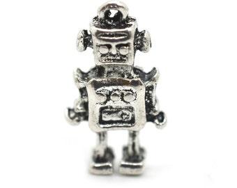 Robot Charm,  15 pcs, 15 x 10mm, Silver Robot Pendant,  Silver Charms, Robots - C649