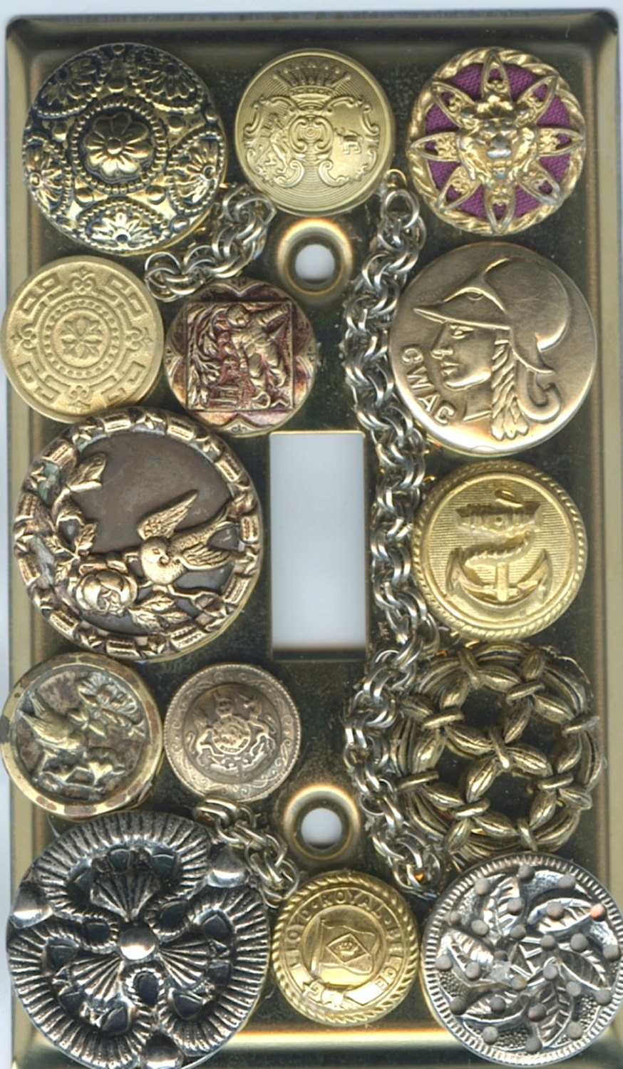 Steampunk Light Switch Cover With Vintage Metal By