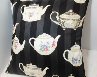 "Black Tea pot decorative pillow cover, Asian inspired, rose floral teapot, kettle, 12x16, 14"", 16"", 18"", 20 inches"