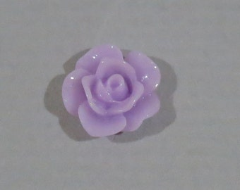 10 pcs 10mm Lavender Light Purple Resin Rose Cabochon