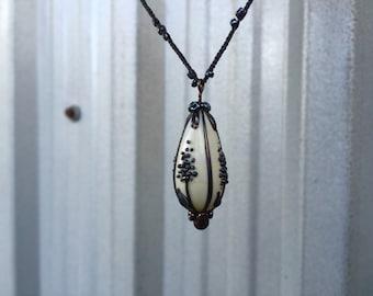 Romantic black & white floral specimin pendant