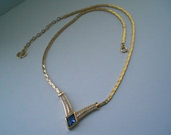 Vintage Christian Dior V Shaped Blue Stone and Rhinestone Necklace