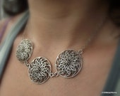Modern Filigree Pewter Pendant, Antiqued Silver Necklace, Platinum Necklace, Gift under40