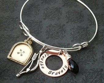 Hand Stamped Jewelry- Breathe Bravely BANGLE BRACELET- Cystic Fibrosis Research- CF Bracelet- arrows