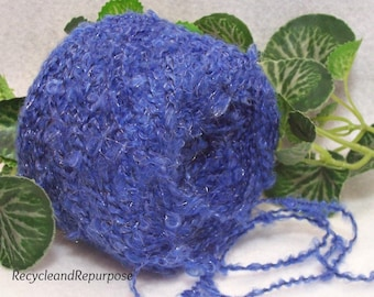 September Sapphire Blue Yarn, Extremely Soft Boucle, Bit of Blue Shimmer Shine Yarn,  Bin 9