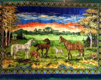 Vintage Horse Velvet Tapestry - 1970s Sunset - Blue Green Yellow Orange