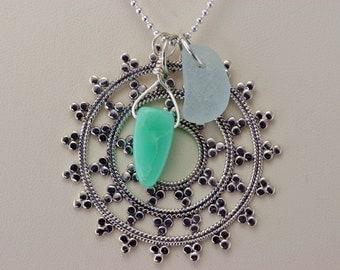 Yoga Spirit Snow Flake Mandala Necklace with Chrysoprase Gemstone and Genuine Sea Glass