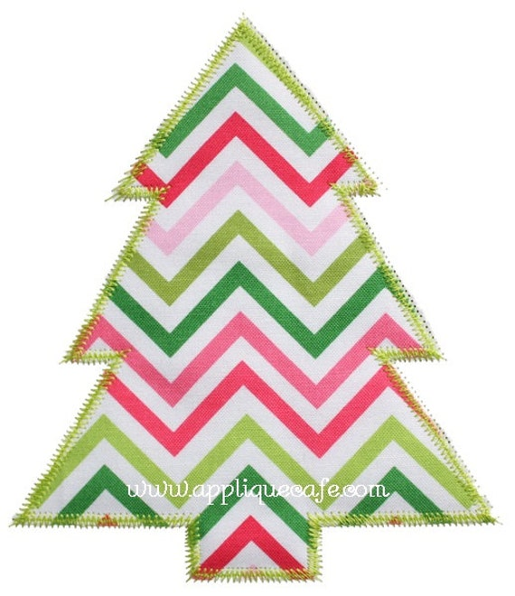 Zig zag simple christmas tree machine embroidery applique
