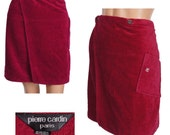 Vintage 1970s Velour Wrap Skirt - Pierre Cardin - One Size Fits All