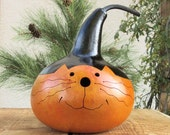 Kitty Cat Gourd Hand Carved  Decoration (with removable lid)