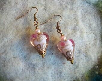 Heart Earrings, Crystal Pink Lamp Work Beads, Romantic,Valentine,Sweetheart Jewelry