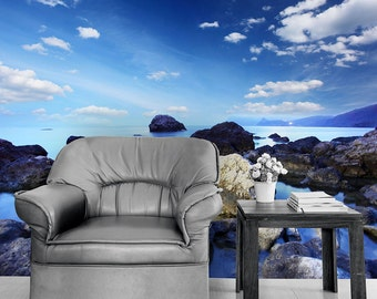 Calm Blue Rocky Waters Self Adhesive Wallpaper