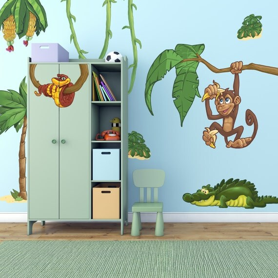 large childrens jungle animals wall stickers pack by discountfan large colorful tree amp jungle animals wall
