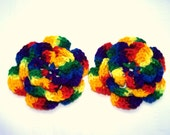 Crochet flower motif 4.5 inch  set of 2 flowers mexicana