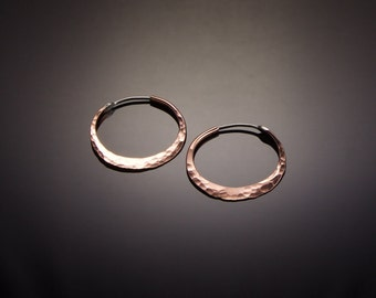 XS 1 inch Copper Hoop Earrings // Tiny Hammered Copper Hoops // Petite Copper Hoop Earrings