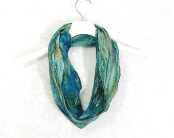 Cobweb Felted Scarf Gift for Her Wool Scarf Winter Scarf Winter Accessories Fall Scarf Green Scarf Womens Scarf Green Teal TAFA OOAK