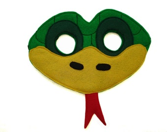 Children's Green SNAKE Felt Animal Mask