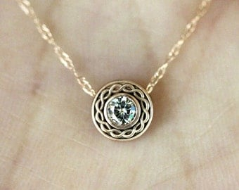 Forever One Moissanite 14K Gold Necklace, Halo Pendant, Vintage Inspired, Recycled Gold, Eco Friendly, Slice Pendant - Custom Made For You