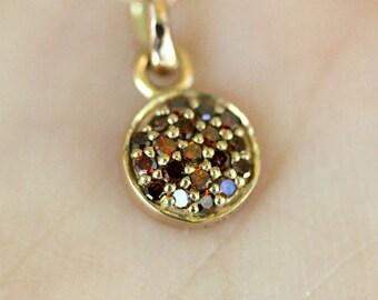 Genuine Brown Diamond 14K Rose Gold Necklace, Pavé Diamond Disc Pendant, Birthstone - Made To Order