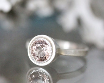 Morganite Sterling Silver Ring, Gemstone Ring, Milgrain Inspired, Eco Friendly, Engagement Ring - Made To Order