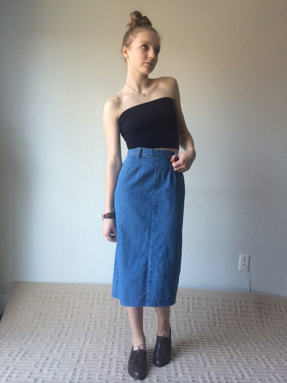 Pencil Skirt 90s Jean Skirt Light Denim Midi Skirt Denim