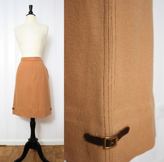 vintage 60s camel wool leather buckle pencil skirt 1960s