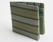 Mens wallet, Vegan Wallet, Billfold, Mens Accessories, Green and Grey Stripe, Handmade by Knotted Nest on Etsy