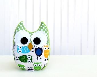 Owl Plush Toy Mini Pillow Softie Minky Blue Green White Ready to Ship