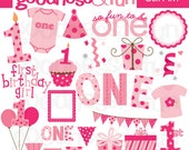 Buy 2, Get 1 FREE - First Birthday Girl Clipart - Digital First Birthday Girl Clipart - Instant Download