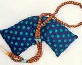 Yoga Eye Pillow Navy and Green Polka Dot Lavender and Flax Seed pillow for Savasana, Relaxation