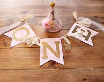 Gold Pink Birthday Hat and High Chair Banner