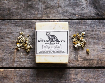 Orange Chamomile, The Fox, large bar, cold process soap, organic, artisan soap, lightly scented, vegan, natural soap, herbal soap