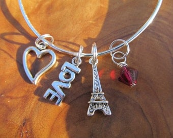 I LOVE PARIS - Adjustable Expandable Bangle Bracelet - Love with Eiffel Tower Charms- Choose any  color