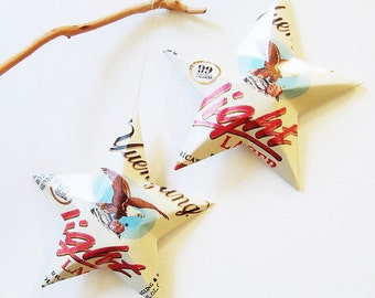 Yuengling Light Beer Stars Christmas Ornaments Aluminum Can Upcycled