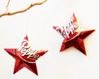 Dr. Pepper Stars Christmas Ornaments Soda Can Upcycled Repurposed