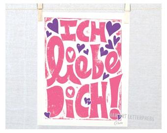 Ich Liebe Dich, I love you, German, German wall art, Kids room art, Modern Nursery Art, Germany, Valentine's Day, Valentine Gift