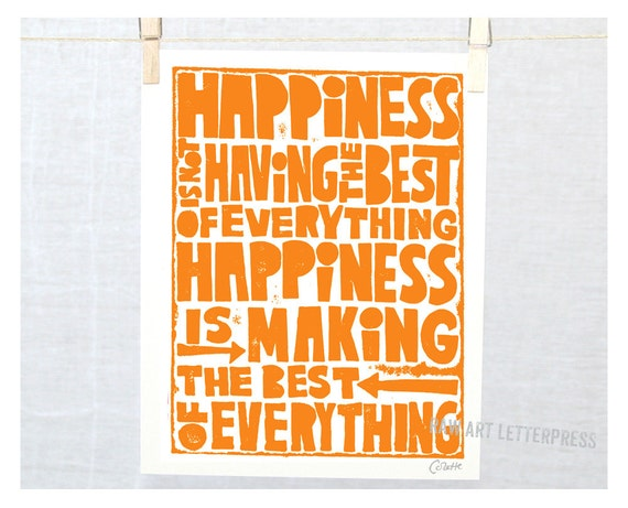 HAPPINESS Quote, Posters and Prints, Wall Art, Kitchen Art, Playroom Decor, Positive Art, Trending Art, Artwork