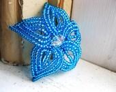 Aqua Bloom - Blue Beaded Flower Hair Clip