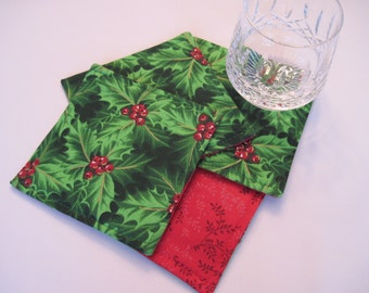 Green Holly Christmas Coasters Set Christmas Mug Rugs Coasters Green and Red Coasters Red Christmas Mug Rugs/Coasters