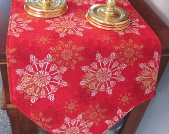 "Gold and White Snowflake 72"" Table Runner Christmas Red Table Runner Gold Table Runner Green Gold Runner Snowflake Holiday Runner"