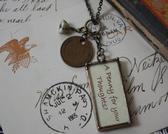 """A """"Penny for Your Thoughts"""" Reversible, Real Wheat Cent Statement Art Glass Soldered Pendant Necklace"""