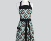 Full Bib Womens Apron - Classic Vintage Apron in Rich Black and Teal Damask Full Kitchen Apron Personalize or Monogram