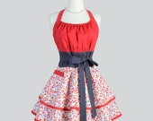 Flirty Chic Apron . Red and Gray Floral Fabric Flirty Skirt Cute and Sexy Retro Womens Apron Cute Flirty Chic Apron