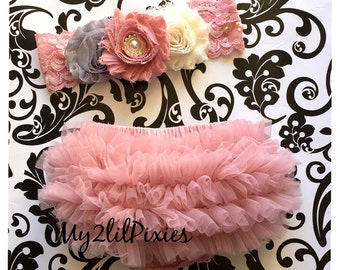 BLOOMER and BABY HEADBAND set- Baby Clothes -Baby Headband Vintage pink, ruffle nappy cover, Diaper Cover, Baby girl Headband and Bloomer