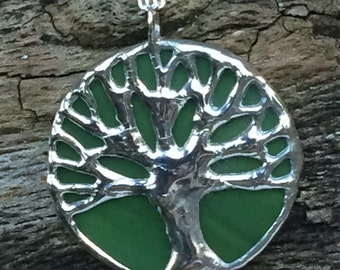 Bright green & silver stained glass, Auburn, toomer's oak, tree of life pendant