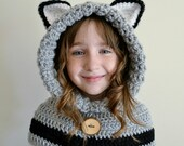 Wolf Hat - Wolf Hoodie - Wolf Cowl - Animal Hat - Hooded Scarf - Crochet Hoodie - Chunky Crochet Hat - Animal Scarf