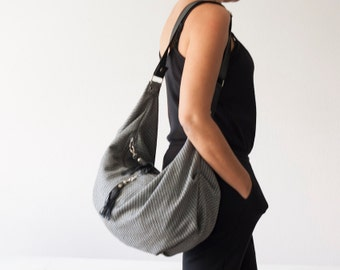Wool grey cross body bag with black leather, crossover bag slouchy messenger purse everyday- Crossbody Kallia bag