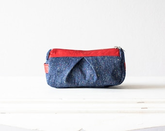 makeup bag blue, accessory bag travel pouch cosmetic bag in wool and red leather - Estia Bag